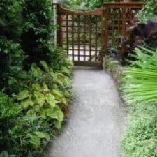 landscaped pathway using crushed granite grey toppings. picture from a landscape gardening supplies business in melbourne
