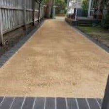 driveway using Dromana toppings a roadbase and landscaping pathway material, near me located at a boundary rd mordialloc, garden supplies business in melbourne
